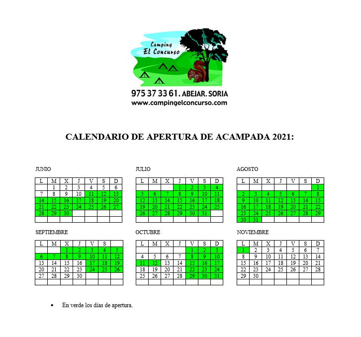 CALENDARIO DE APERTURA DE ACAMPADA 2021